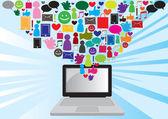 Social media communication — Stock Vector