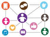 社会媒体沟通 — 图库矢量图片