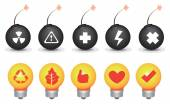Bomb and Light Bulb Symbols Vector Icon Set — Stock Vector