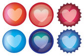 Heart Symbol Glossy Round Web Buttons Vector Icon Set — Stock Vector
