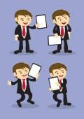 Happy Businessman Holding Placard Vector Cartoon — Stock Vector
