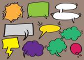 Speech Balloon and Thought Bubbles Vector Cartoon Illustration — Stock Vector