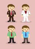 Cute Cartoon Businessman Vector Icon Set — Stock Vector