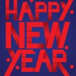 Happy New Year Red Folded Paper Font on Blue Background — ストックベクタ #79241826