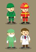 Soldier Firefighter Surgeon and Doctor Vector Illustration — Stock Vector