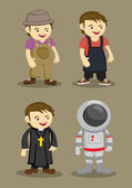 Farmer Kitchen Helper Priest Astronaut Vector illustration — Stock Vector