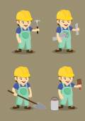 Happy Industrial Worker and Tools Vector illustration — Stock Vector