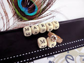 Marriage proposal - the words of beads — Stock Photo