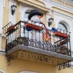 Snowman on the balcony — Stock Photo #53187049