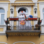 Snowman on the balcony — Stock Photo #53187093
