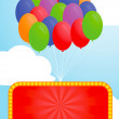 Colorful balloon and Advertising billboard — Stock Vector #56151187