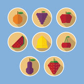 Set of fruit flat icons with long shadows — Stock Vector
