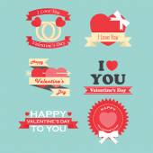 Valentine's day labels, icons elements and badges collection  — Stok Vektör