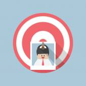 Businessman picture stick on target by arrow, Recruitment, Hirin — Stock Vector