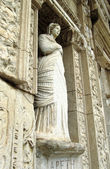 Sculpture in Library of Celsus in Ephesus — Stock Photo