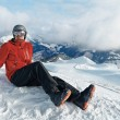 Snowboarder admiring the stunning view — Stock Photo #70174425