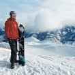 Snowboarder admiring the stunning view — Stock Photo #70174521