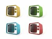Vieux concept de Tv vintage dans quatre — Photo