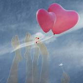 Happy Valentine's Day, couple in love with balloons in the shape of heart — Stock Photo