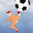 Постер, плакат: Funny Kid scores football easiness