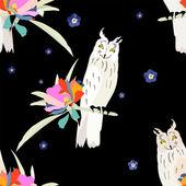 Owls seamless pattern — Stock Vector