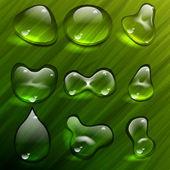 Transparent waterdrops vector template — Stock Vector