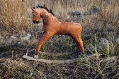 Old thrown away rocking horse — Foto de Stock