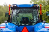 Cabin of the new blue tractor. Rear view. Close up. — Stockfoto
