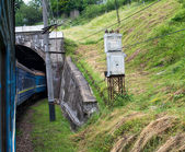 Train going into the tunnel in the Carpathians — Stok fotoğraf