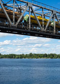 The span of the railroad bridge with freight train on it — Stock Photo
