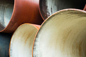 New metal pipes stack. Close up — Stock Photo
