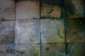 Surface of the old dirty big square tiles — Stock Photo