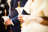 Wedding ceremony in orthodox church. — Stock Photo