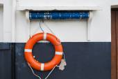 Orange and white Lifebelt at Scarborough — Stock Photo