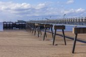 Steel and concrete pier manmade structure — Stock Photo