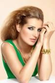 Woman In Green Dress — Stock Photo