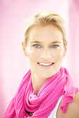 Woman On Pink — Stock Photo