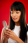 Asian Girl With Phone — Stock Photo