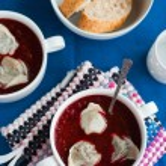 Ukrainian and russian national beetroot borsch with dumplings cl — Stock Photo #61992115