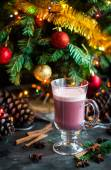 Christmas winter sweet hot alcohol drink mulled red wine glintwi — Stock Photo