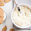 Healthy breakfast with cottage cheese, grain cookies, milk — Stock Photo #69472265