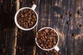 Koffie bonen in een cups — Stockfoto