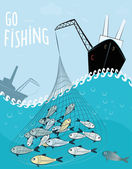 Fishing scene on sea — Stock Vector