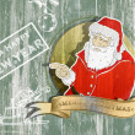 Santa claus portrait on wooden wall — Stock Photo #56606719