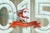 Santa claus new years jump — Stock Photo