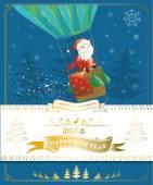 Santa claus in hot air balloon — Stock Vector