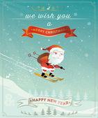 Santa claus new years jump — Stock Vector