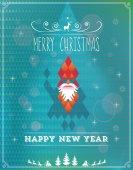 Card with geometric Santa Claus — Cтоковый вектор
