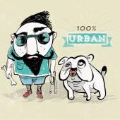 Bearded guy with bulldog — Stock Vector