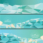 Three geometric winter banner — Wektor stockowy